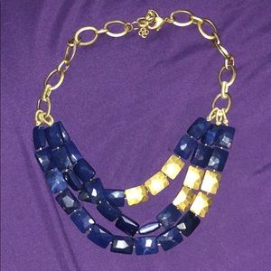STELLA & DOT NAVY AND GOLD STATEMENT NECKLACE